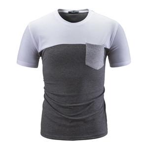 تي شيرت أوم المشتركة جولة طوق جيب القطن ثلاثة ألوان جوكر يتأهل الصيف عارضة قمم قميص
