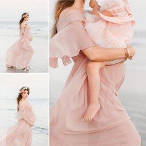 Women Maternity Dress Photography Pregnants Dress Maternity Photography Props Short Sleeve Ruffles Solid Femme Vestido