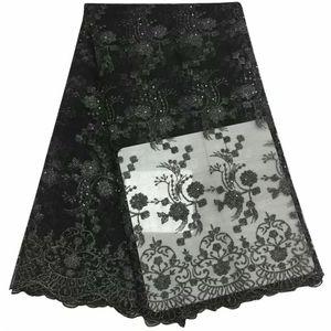 Taşlar DIY düğün elbise ile 5yards / adet Yüksek kaliteli dantel nigerian fransız dantel zenci tül dantel kumaş