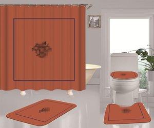 Moda de baño Cortina de cuadrícula impresa suave tela impermeable cortinas de ducha mildewproof con ganchos de color caqui Nuevo Conjunto de asiento de inodoro