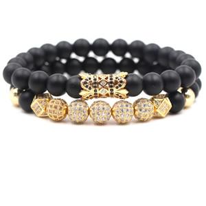 2 pc / ensemble 8mm Cubique Zircone Bracelet Designer De Luxe Bijoux Noir Givré Pierre Turquoise Femmes Bracelects Hommes Bouddha Perles Bracelet Cadeau
