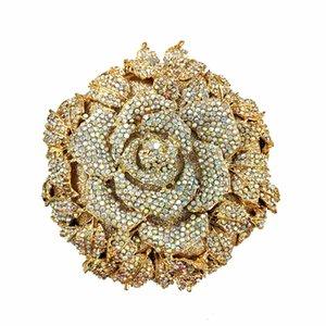 Rose Party Bag Kristall Clutch Handtasche Abendtaschen Großhandel Kupplungen Hochzeit Blume Kundenspezifische Geldbörse Floral Qlcck