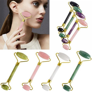 Natural Crystal Facial Massager Double Head Roller Jade Face Thin Slimming Head Neck Natural Jade Beauty Tools F0048
