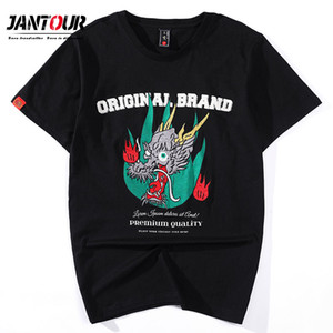 Japanese Streetwear T Shirt Men Harajuku Embroidery Dragon T-Shirt Summber thin Tshirt Cotton Tops Tees Black White XXXL XXXXL