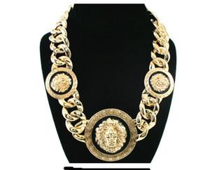 Designer de luxe Hip hop tête haute qualité dégoulinant d'huile en alliage Lion Collier Bijoux Personnalité Mode Exagération Clavicule chaîne Pull