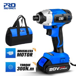 300Nm Electric Screwdriver Cordless Drill Brushless Motor Impact Driver Combo Kit 34pcs Drill Bits 20V Power Tool by PROSTORMER T200602
