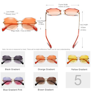 KINGSEVEN Design Rimless Fashion Cat Eye Sunglasses Women Gradient Driving UV400 Sun Glasses Clear Vintage Eyewear Oculos N801 Y200619