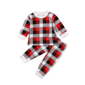 New Christmas Style Baby Unisex Plaid Clothing set Girl Boy Kids Long Sleeve Shirt+ Pants 2 pcs set for Autumn Spring LA156