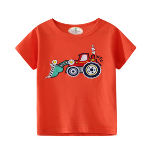 Summer Short-sleeved New Products Europe And America Grid Board Brand Childrenswear Knitted Children T-shirt Pure Cotton Export
