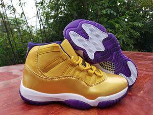 Yeni varış 11 11s Yüksek Erkek basketbol ayakkabıları sayısı 24 beyaz mor altın 11'leri Spor Ayakkabıları Boyut 40-47