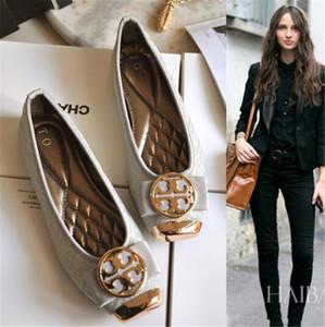 Новый европейский и американский стиль плюс размер классический металл круглая пряжка квадратная голова женщины квартиры серый черный обувь мелкий рот женская обувь