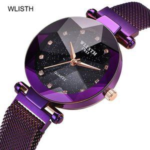 WLISTH 여성 시계 여성 자기 밴드 시계 패션 다이아몬드 Gypsophila 여성 석영 손목 시계