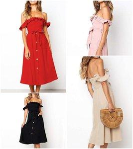 Simplee Seksi kapalı omuz fırfır kadınlar elbise Zarif siyah düğme kanat yaz elbise Casual kadın midi bayan vestidos festa 2019