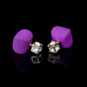 Super Deal Square Pearl Doble Pendientes bolas Colorido Declaración Zircon Channel Stud Pendiente de cristal