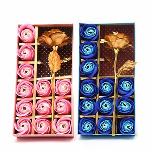 Sabonete Flor Caixa de Presente do Dia das Mães Perfumado Banho Body Petal Flor Soap Flores Folha de Ouro Artificial Decor Rose Presente 12 Pcs DH1276