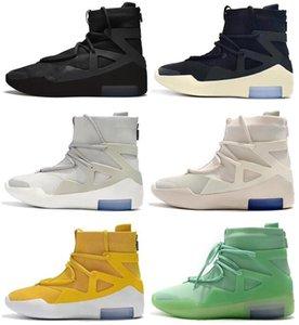 Temor de Dios 1 FOG Botas de Vela Luz Bone Gris Negro Todos esmerilado Spruce Naranja pulso Atmósfera zapatos de baloncesto amarillo zapatillas de deporte de los hombres con la caja