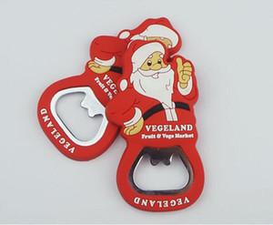 Санта-Клаус открывалка ПВХ Рождество бутылки пива Консервооткрыватели мягкий силиконовый с Stainess стали пива открывалка Рождественский подарок GGA2342