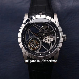 JB V2 atualizado versão EXCALIBUR 42 RDDBEX0393 real Tourbillon Mens RD505SQ relógio automático Skeleton Dial Sapphire Couro Esporte New Watches