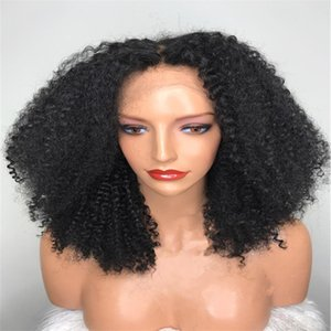 Brazilian Human Hair Lace Wigs Lace Front Wigs Kinky curly Medium Brown Lace with Combs 130% Density Natural Color Soft Hair