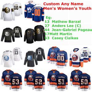 S-6XL New York Islanders 2020 хоккейные майки Mathew Barzal Jersey Anders Lee Jean-Gabriel Pageau Matt Martin Casey Cizikas сшитые на заказ