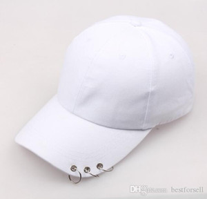 Moda Hierro Anillo Círculo Cordones de Béisbol Hombres Mujeres En Blanco Snapback Cap Designer Casquette Ajustable Sombreros Casual Gorras Papá Sombreros