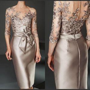 2020 apliques de encaje envoltura elegante madre del tamaño del vestido de novia Plus 3/4 larga de las mangas de la rodilla-longitud Madre formal de la boda del vestido de visitantes