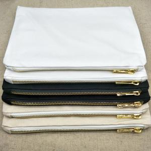 1pc 7x10in blanco 12 oz bolsa de maquillaje lona de algodón con cremallera metálica de impresión negro / blanco / natural de la lona bolsa de cosméticos de bricolaje con forro en stock