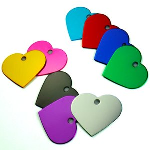 Wholesale 20Pcs Customized Personalized 2 Sides Heart-shaped Aluminum Dog Cat Tag Pet Collar Accessories ID Tag Name Telephone