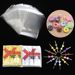 100Pcs Transparent OPP Plastic Lollipop Bag Cookie Packaging Cellophane Candy Wedding Birthday Party Baby Shower Gift Bag Decor