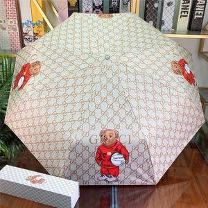 Cute Bear печати Солнечный зонтик G Letter Pattern UV Umbrella защиты с коробкой моды бренда складной зонт
