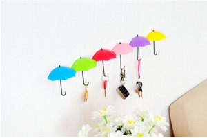 Umbrella Shape Hook Creative Key Hanger Colorful Umbrella Purse Sundries Self Adhesive Wall Hooks Home Decoration