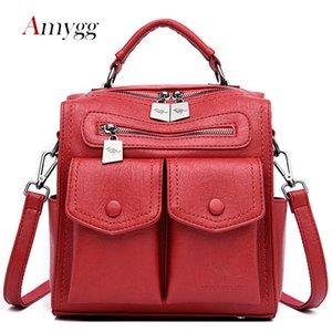 Multifunctional Dual-use Women Leather Backpack Mochila Feminina School Bag For Girls Travel Backpack Lady Rucksacks Shoulder Ba