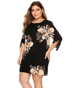 Womens Designer Floral Printed Dress Summer Plus Size Short Sleeve Bandge Dresses Loose Casual Female Clothing