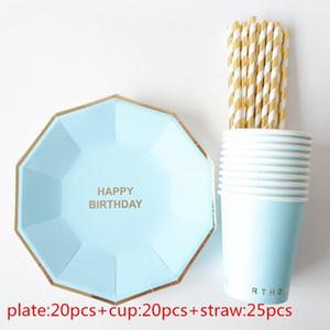 65pcs / set New feuille d'or rose Vaisselle jetable Noël Nouvel An fête en papier Coupes Plaques Birthday Party Supplies en plastique Pailles