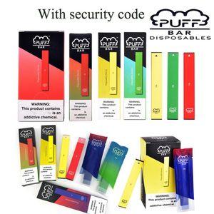 Puff Bar Vaporizer Pen Disposable Pod Device With Security Code Cartridges 280mAh Battery 1.3ml Capacity Vape Carts Mod