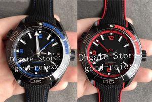 45.5mm VS Fabrik Keramik Gehäuse Blue Rainbow Lünette Herren Automatikuhr 8906 Gmt Uhren Herren-Uhr Dive 600m Planet Eta-Gummiband-Armbanduhr