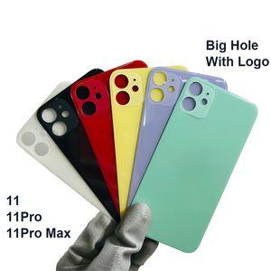 Üst Kalite Geri Cam Konut Case iPhone 11 11 Pro Max Arka Pil Kapağı Arka Kapı Konut Kılıf + logosu Yedek Parça 1pcs