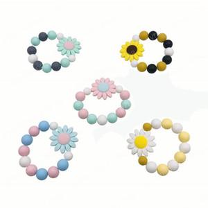 INS Nouveau est arrivé bricolage fleur silicone Teether bébé Sucette jouets pour bébés doigts exercice Jouets Silicon perlée Sucette
