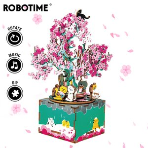 Robotime 148pcs Rotable DIY 3D Cherry Tree Cat Woodbic Puzzle Game Assembly Music Box Toy Gift for Children Adult AM409 Y200413