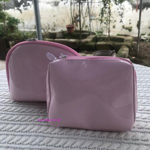 set of 2bags pouch pink fashion glossy zipper bag elegant CC cosmetic case makeup organizer bag designer toiletry Case VIP gift