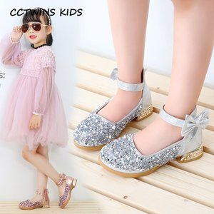 Kids Shoes 2020 Spring Children Fashion Sequin Party Heel Baby Girls Brand Mary Jane Toddler Butterfly Shoes Toddler PY-MH-002