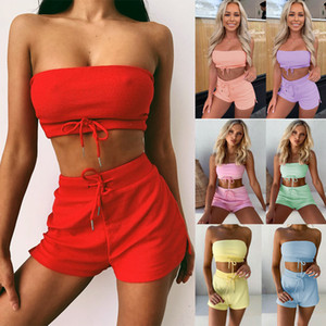 womens summer fashion 2 two piece outfits sets sexy strapless wrap crop top shorts tracksuits suit clothes streetwear nightclub clothing