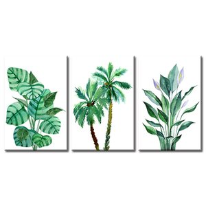 """Palm Tree Minimalist Wall Art Banana Leaf Green Leaves Tropical Monstera Plant Flower Watercolor Painting Prints on Canvas """