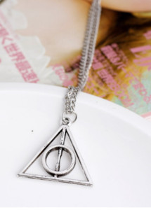 New Fashion Chic Vintage Unisex Triangle Pendant Deathly Hallows Bib Choker Necklace Sweather Chain For Women Free Shipping ps0365