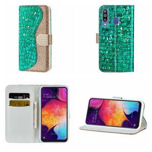 Per Samsung M30 M20 M10 A70 A60 A50 A40 A30 A20E A10 Custodia Bling Sparkle Leather Wallet Luxury Glitter Crocodile Diamond ID Card Flip Cover