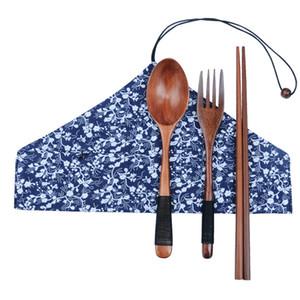 Juego de cubiertos de madera japonés Ambiental Naturaleza Tenedor de madera Cuchara Palillos Palillos de madera portátiles Cuchillo Cuchara Traje de viaje