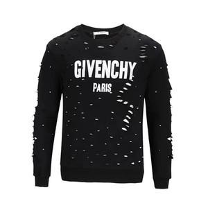 Marca diseñadores desgaste calle del verano camisetas de la manera de los hombres de alta calidad de Europa Giv París Broken agujero algodón jersey sudadera GY sudaderas