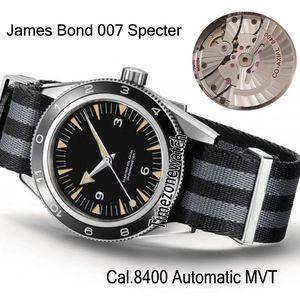 Yeni 007 Spectre 233.32.41.21.01.001 James Bond Çelik Kasa Siyah Cal.8400 Otomatik Erkek İzle Nato Siyah Gri Naylon Kayış Timezonewatch Dial
