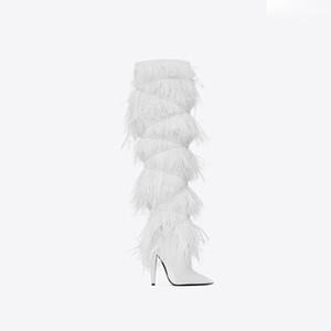 2019 neue Art und Weise lädt spitzen Zehen weißes Fell High Heels Winterfrauen schenkelhohe Stiefel Frauen Schuhe Botas Parteischuhe T Show angepasst