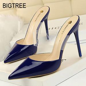BIGTREE Chaussures Femme Escarpins Talons Hauts Chaussures Femmes Bout Pointu Sandale Talon Transparent Chaton Nouveau talon aiguille